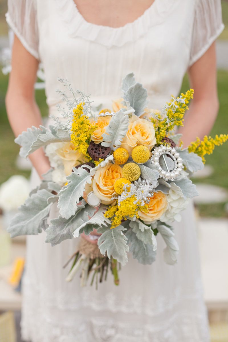 Yellow And Grey Picnic Wedding Shoot Featured On Style Me Pretty