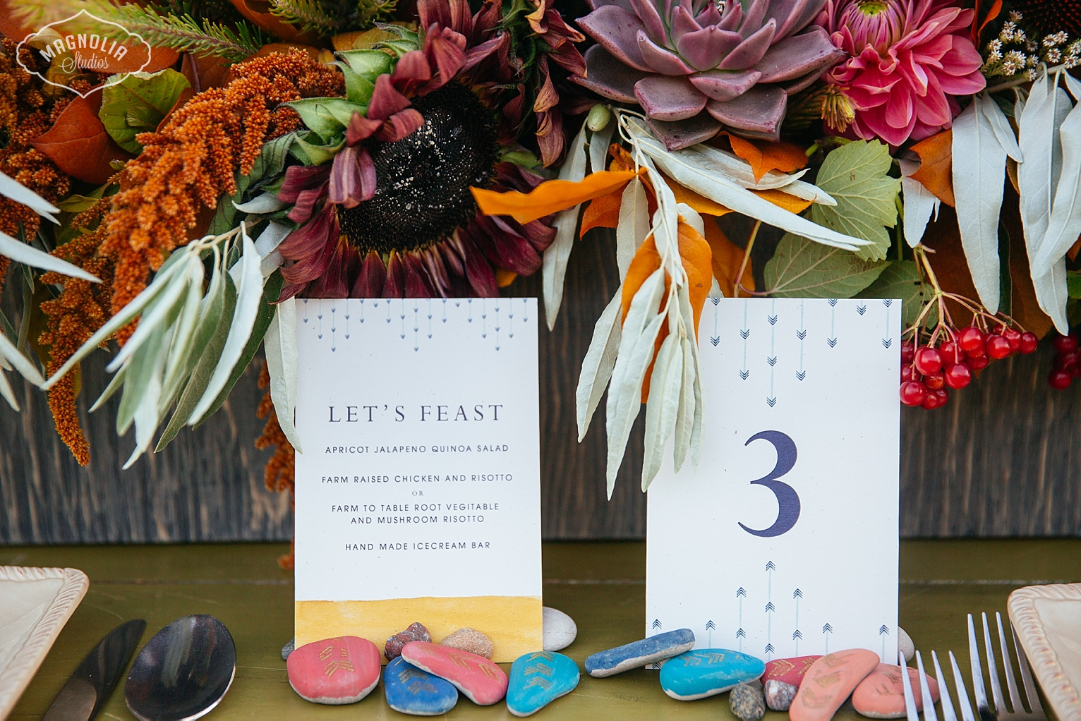 bohemian style menu and table number