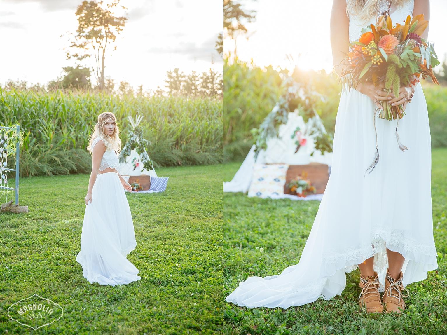 bohemian wedding dress, crop top wedding dress, crochet wedding dress
