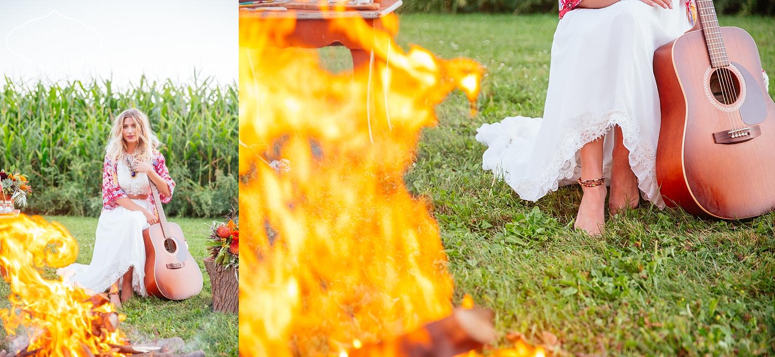 bonfire wedding, bohemian wedding