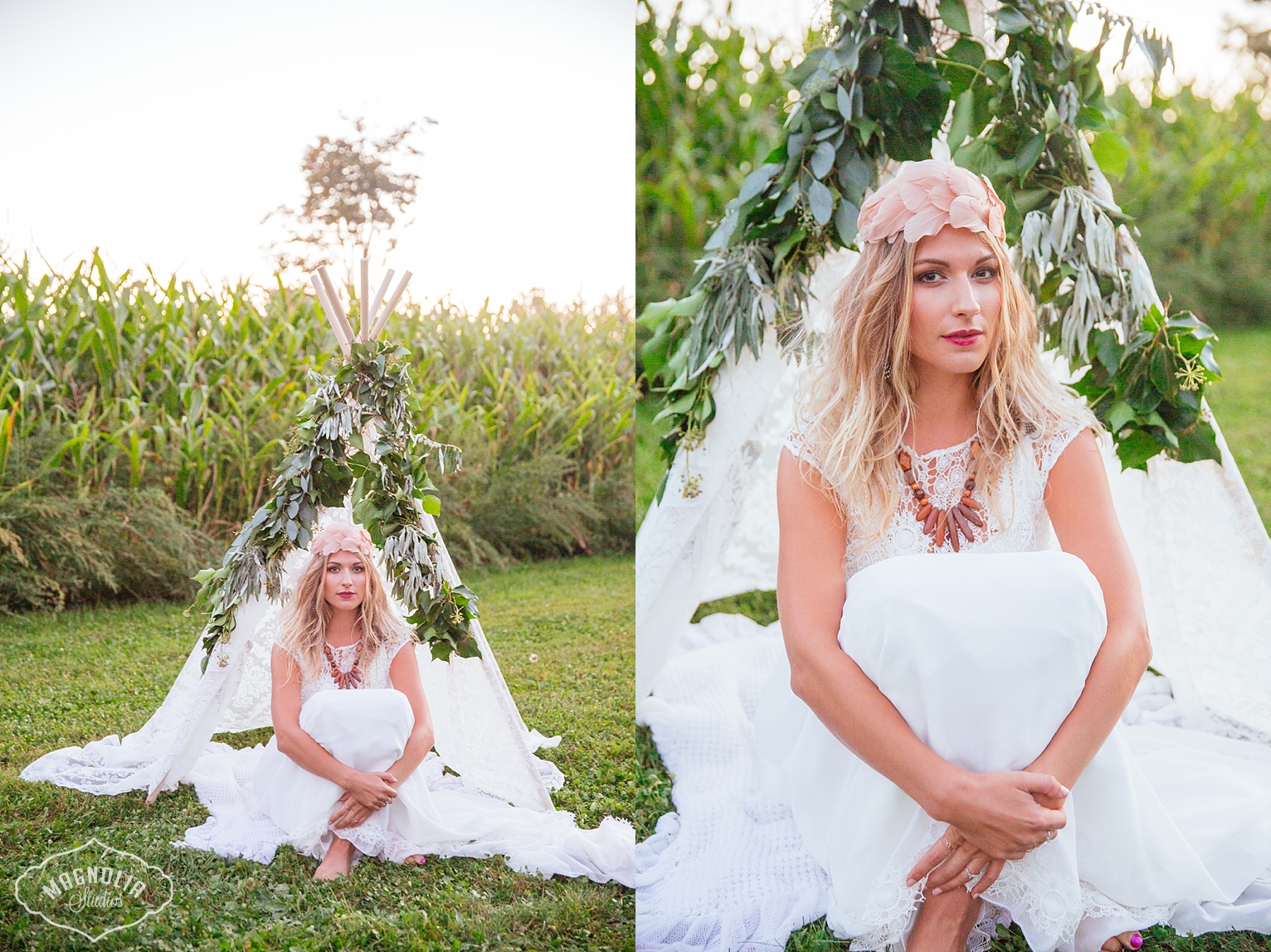 bohemian flower crown for bride