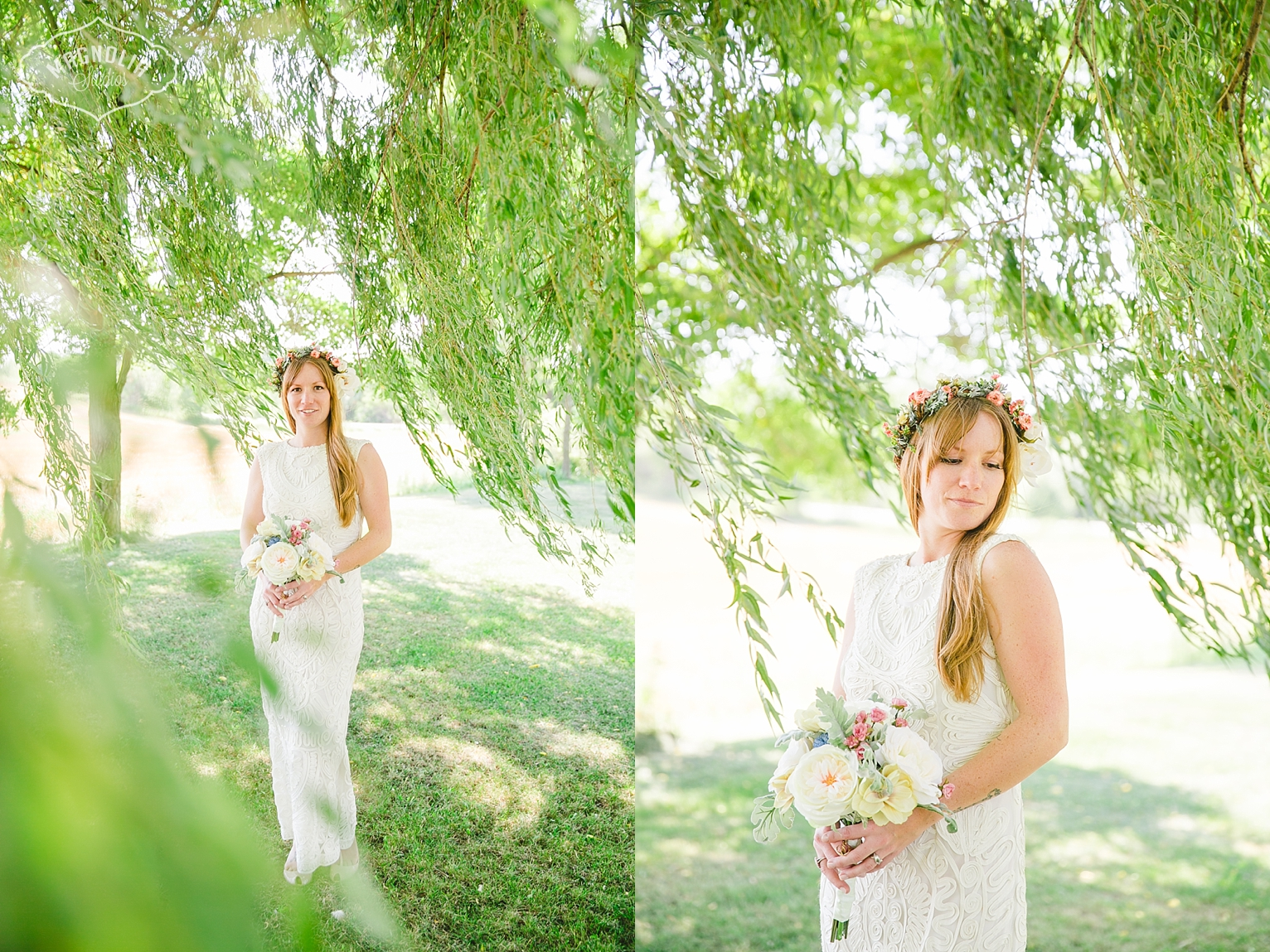 bohemian bride flower crown and crochet dress