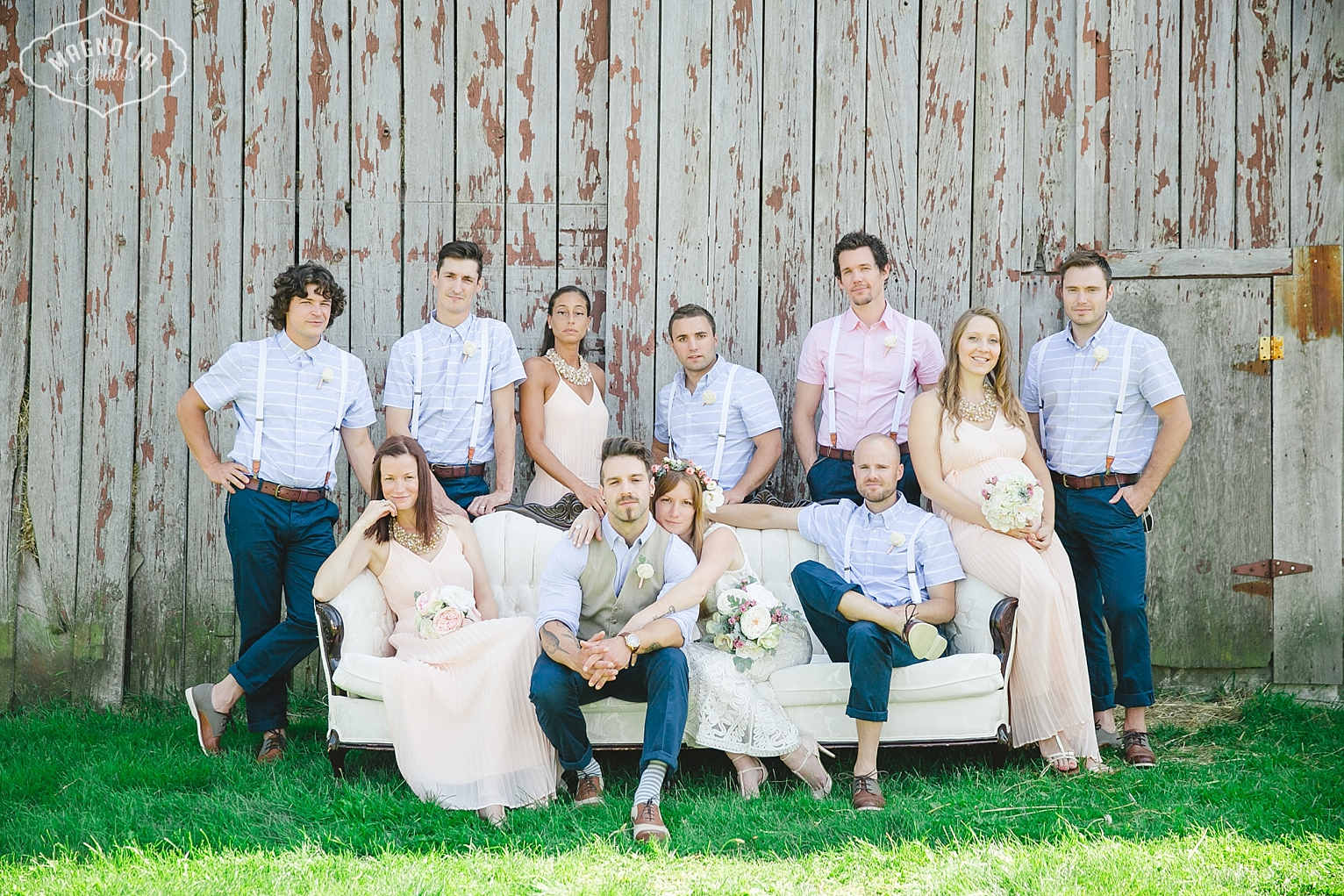 Bohemian hipster wedding party