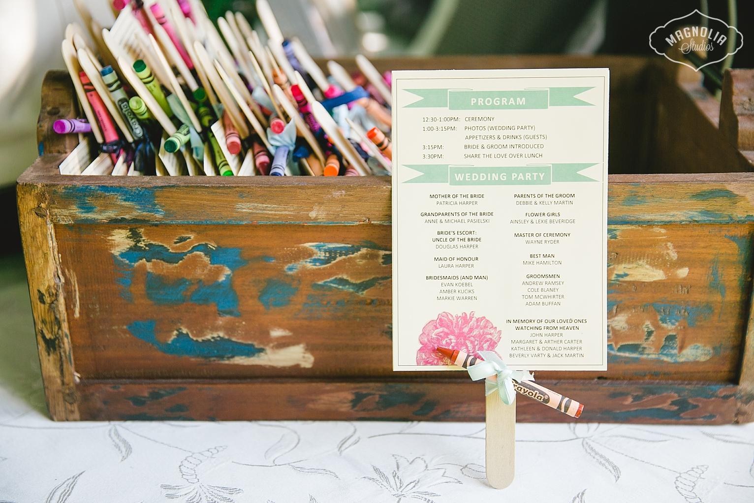 Bohemian wedding program ideas
