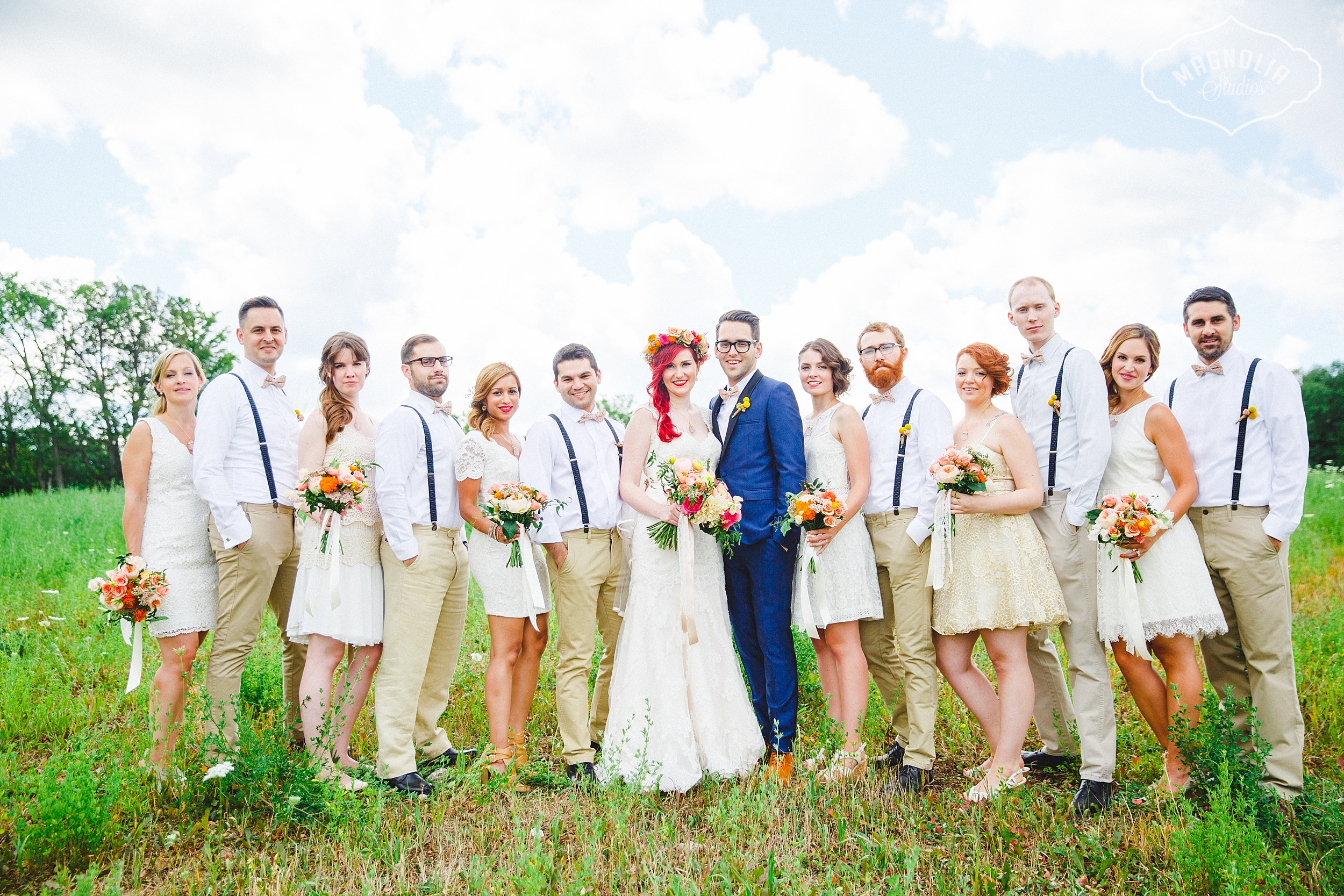 bohemian indie wedding party