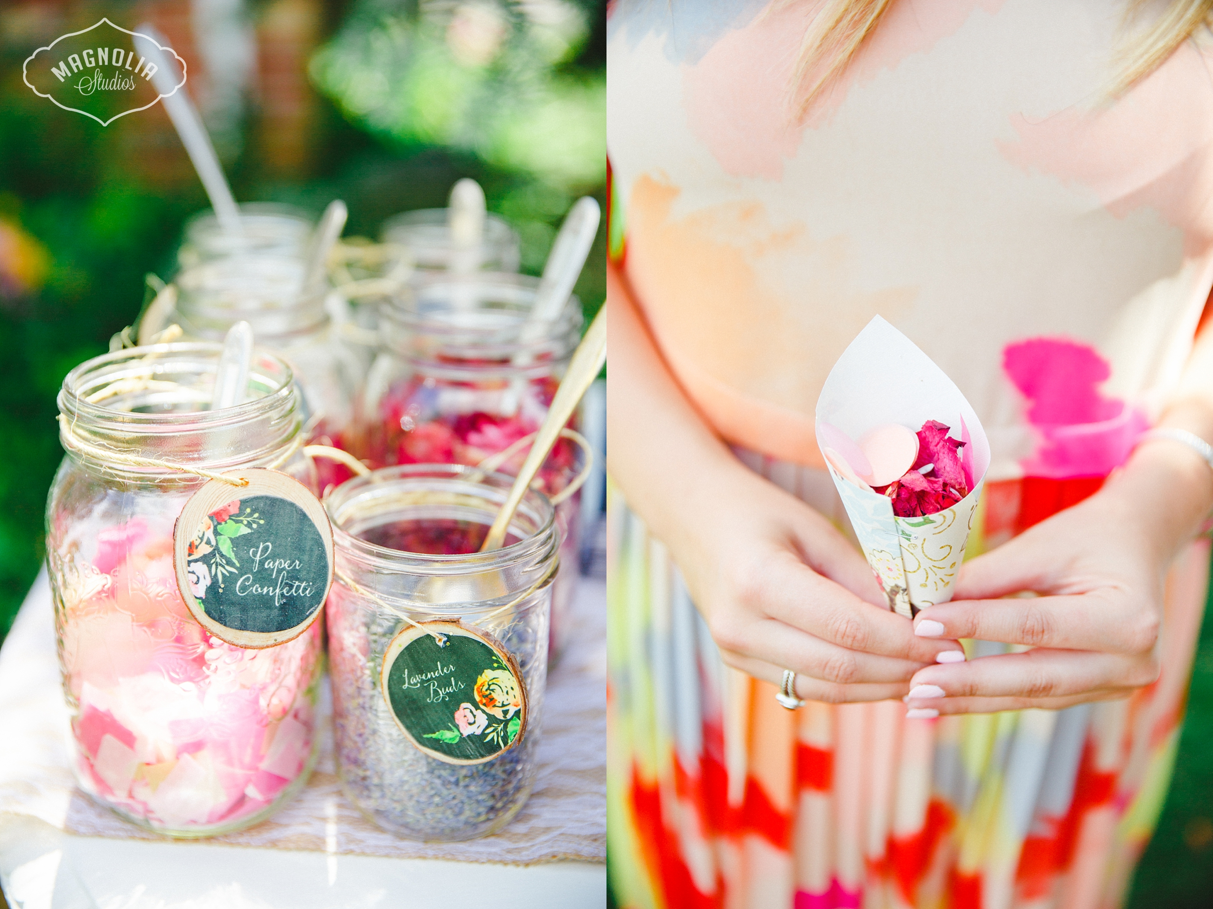 confetti bar bohemian wedding