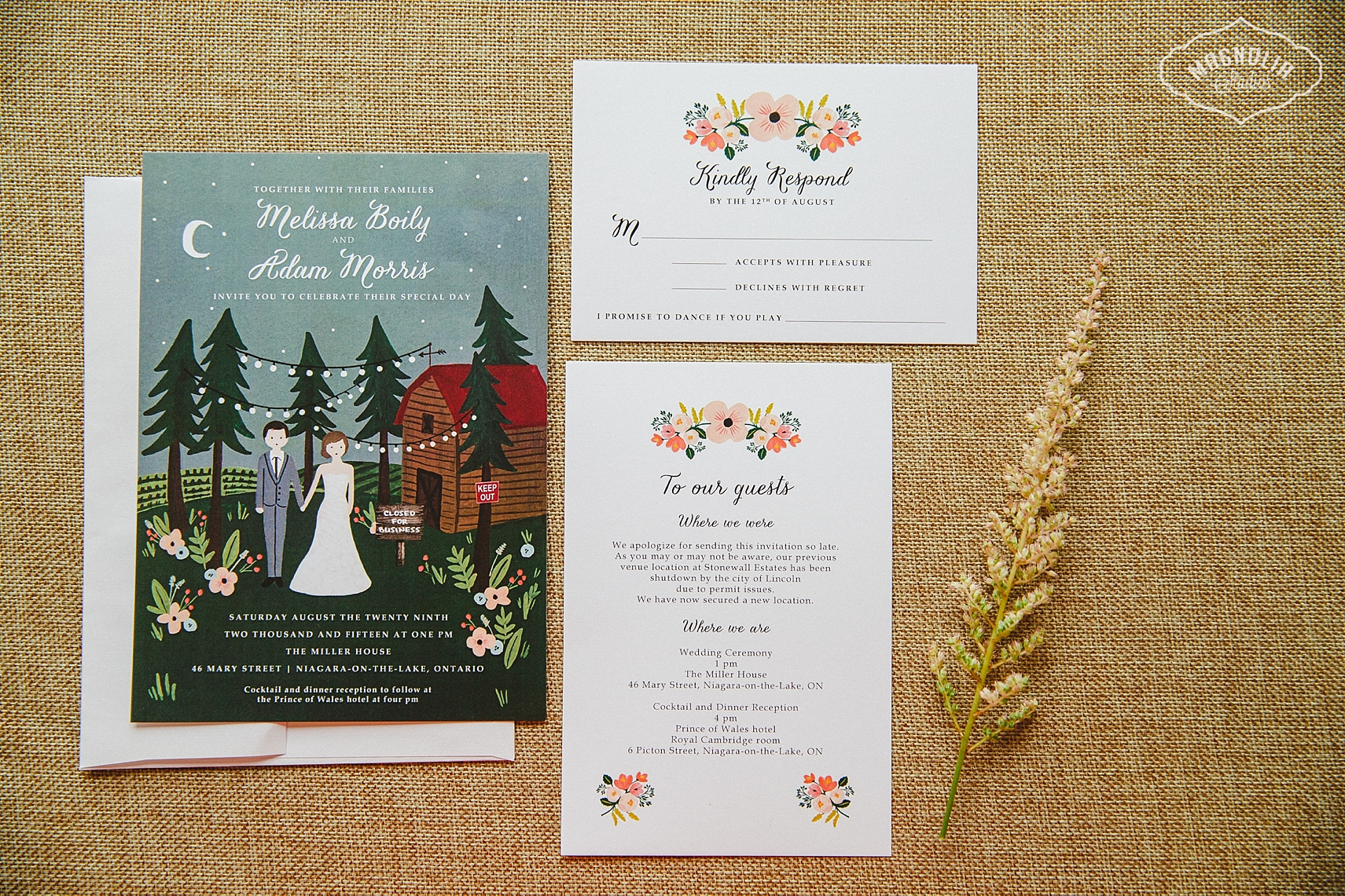 Niagara on the Lake wedding invites