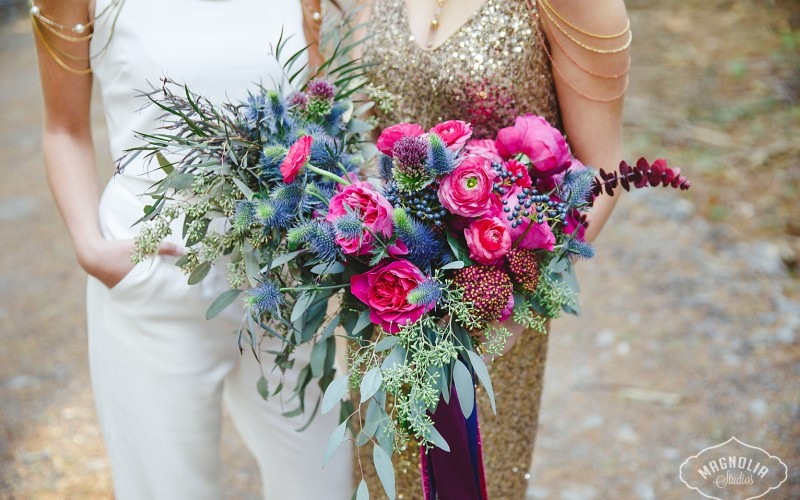 Tanya list Flowers Pink and Purple jewel tone bouquet of wild flowers