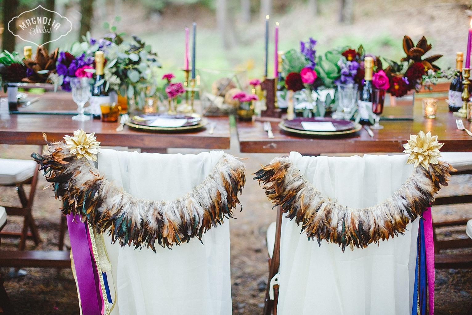 Wedding chair garlands for bohemian weddings
