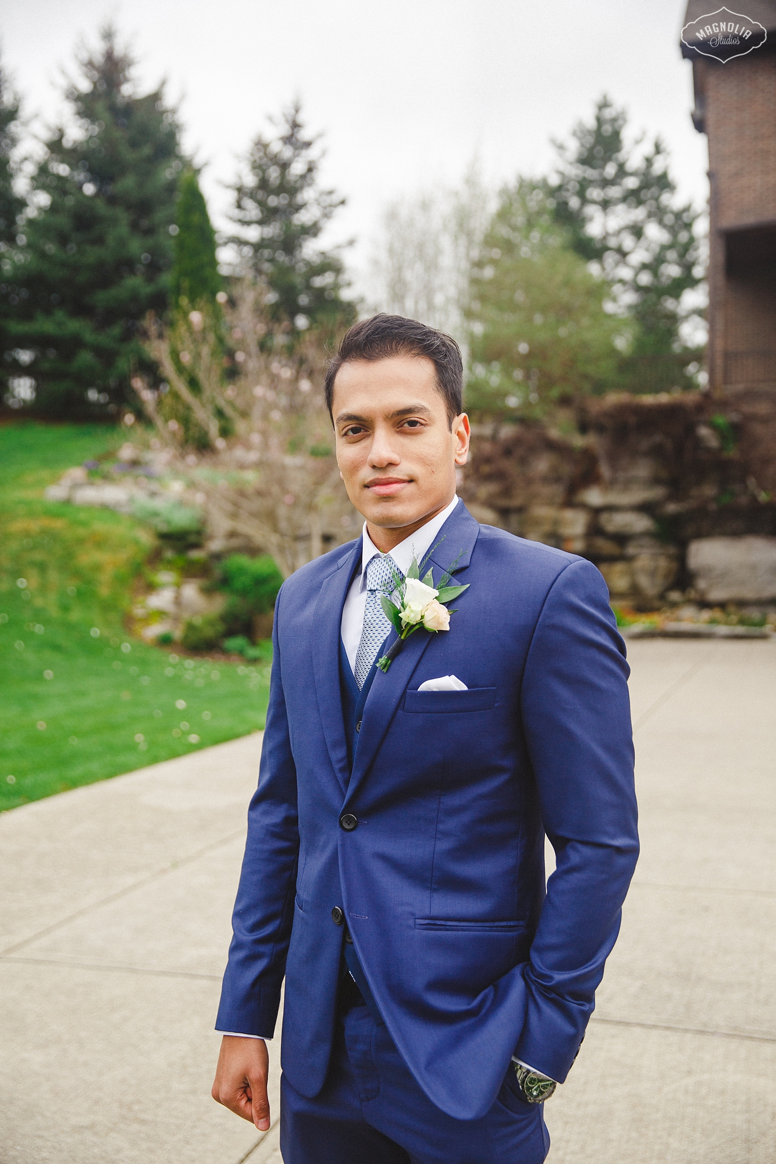 blue suit for groom