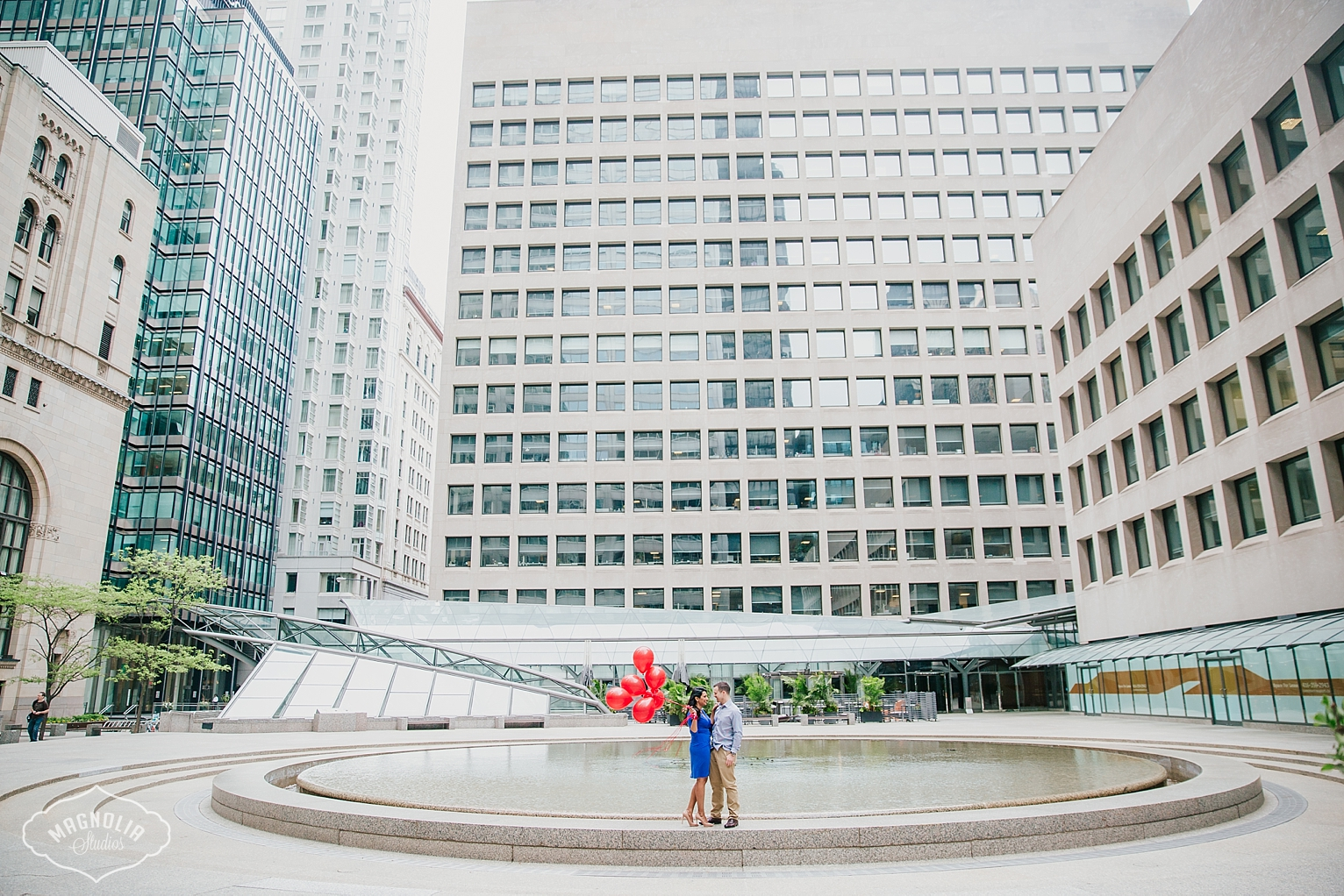 Financial district engagement shoot