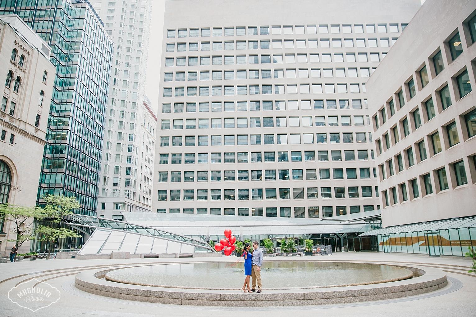 Financial district engagement shoot