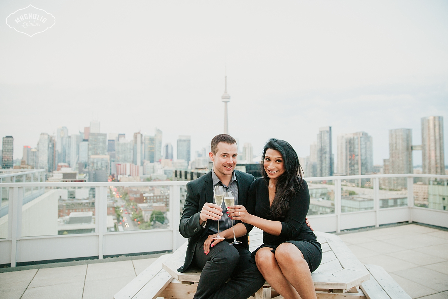 Toronto Rooftop Engagement Photos