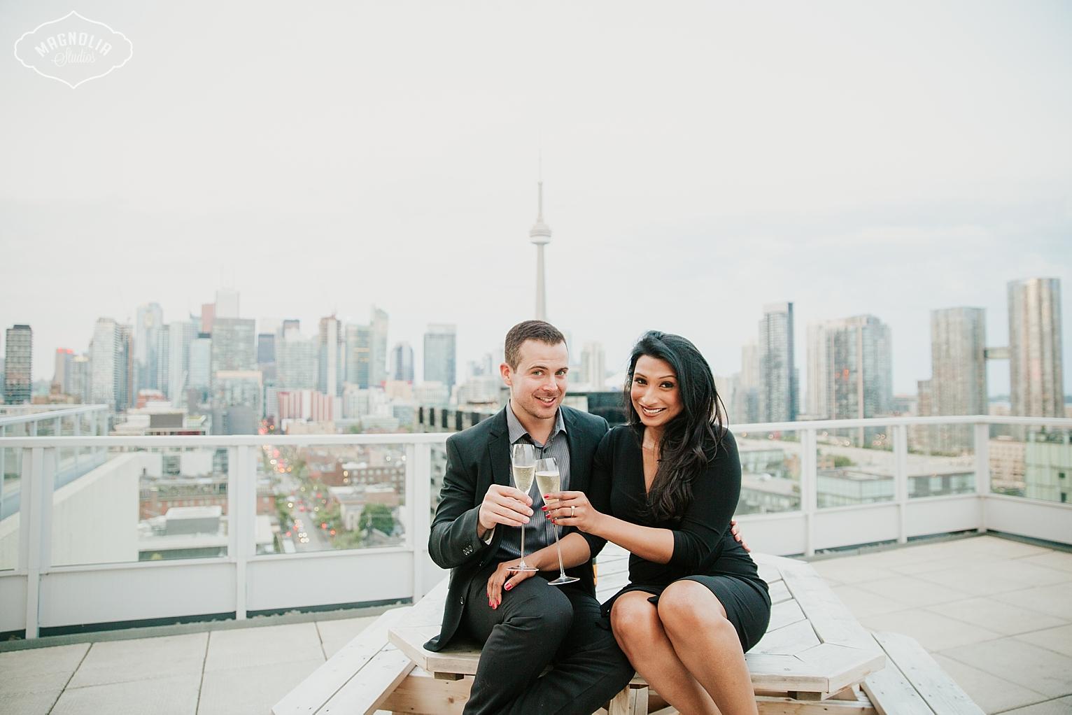 Toronto Rooftop Engagement Photos