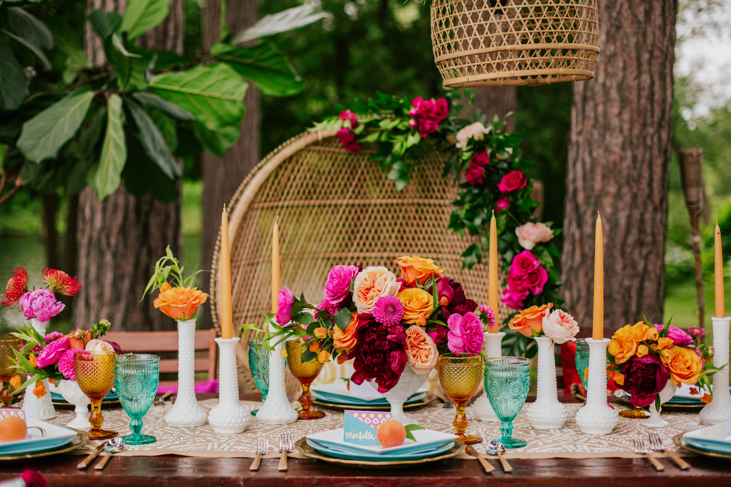 70s boho engagement party decor