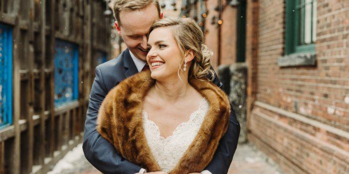 stylish indie wedding in distillery district toronto