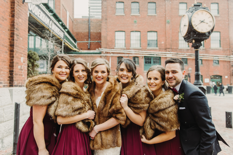 winter wedding photography in distillery