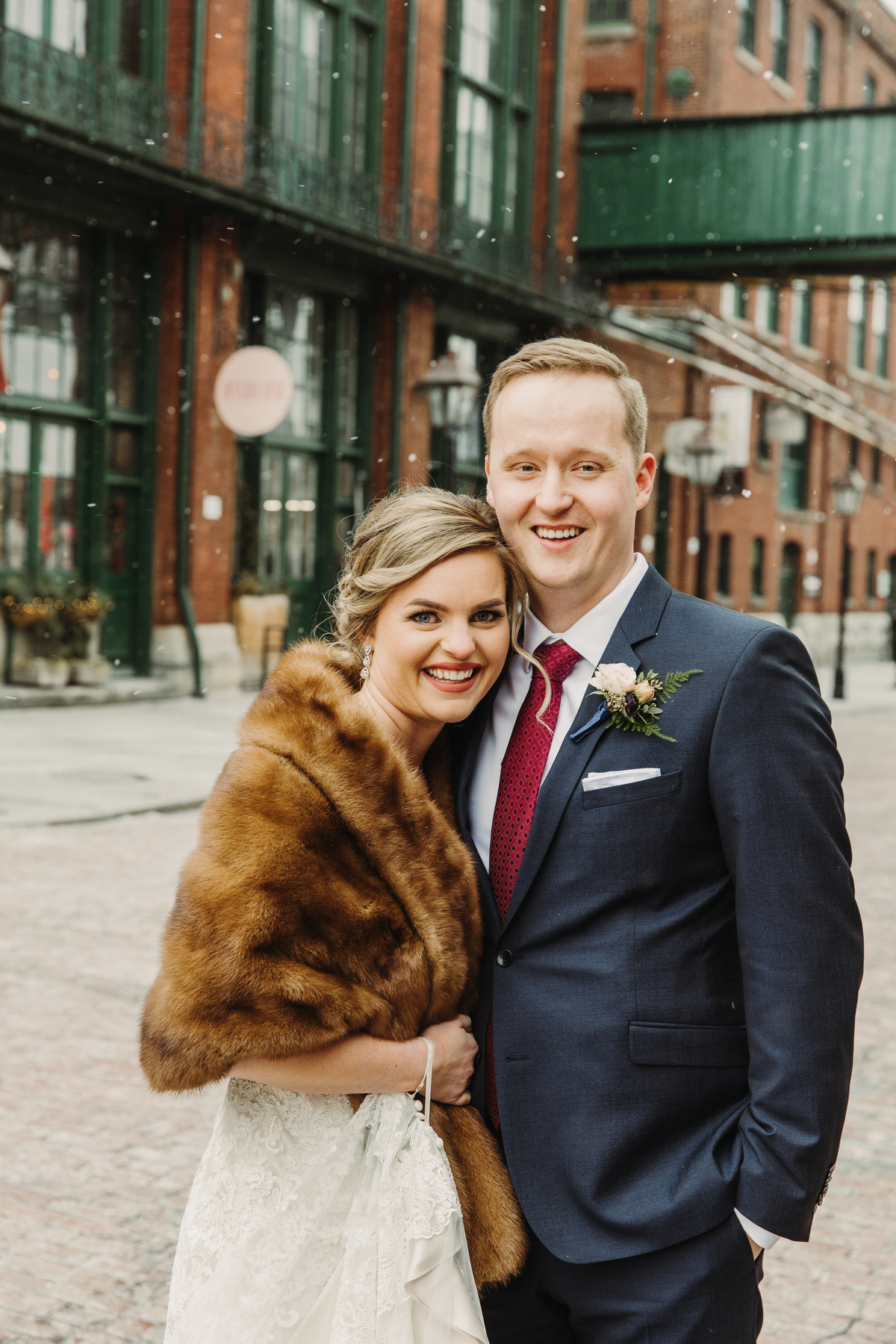 winter wedding photography distillery district