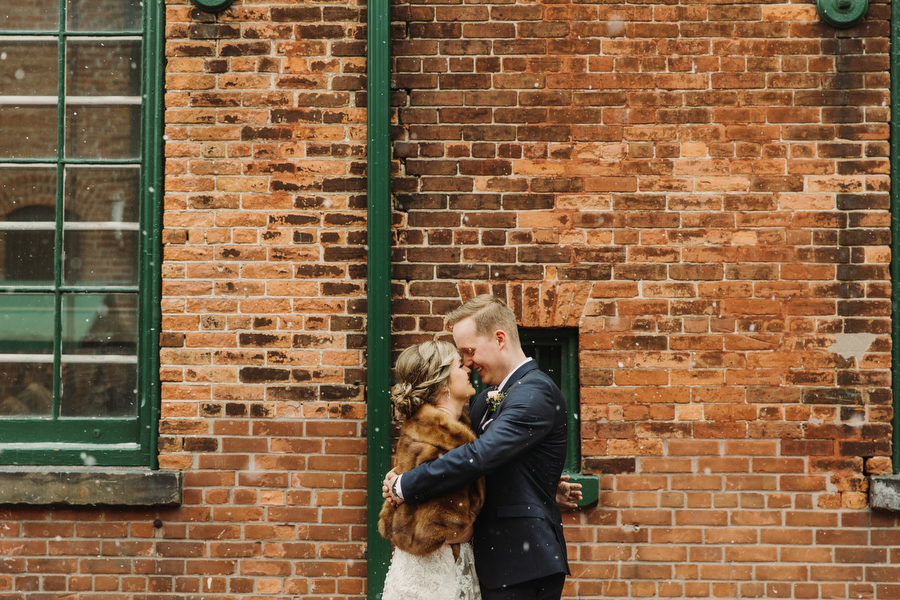 winter wedding photos in distillery district toronto