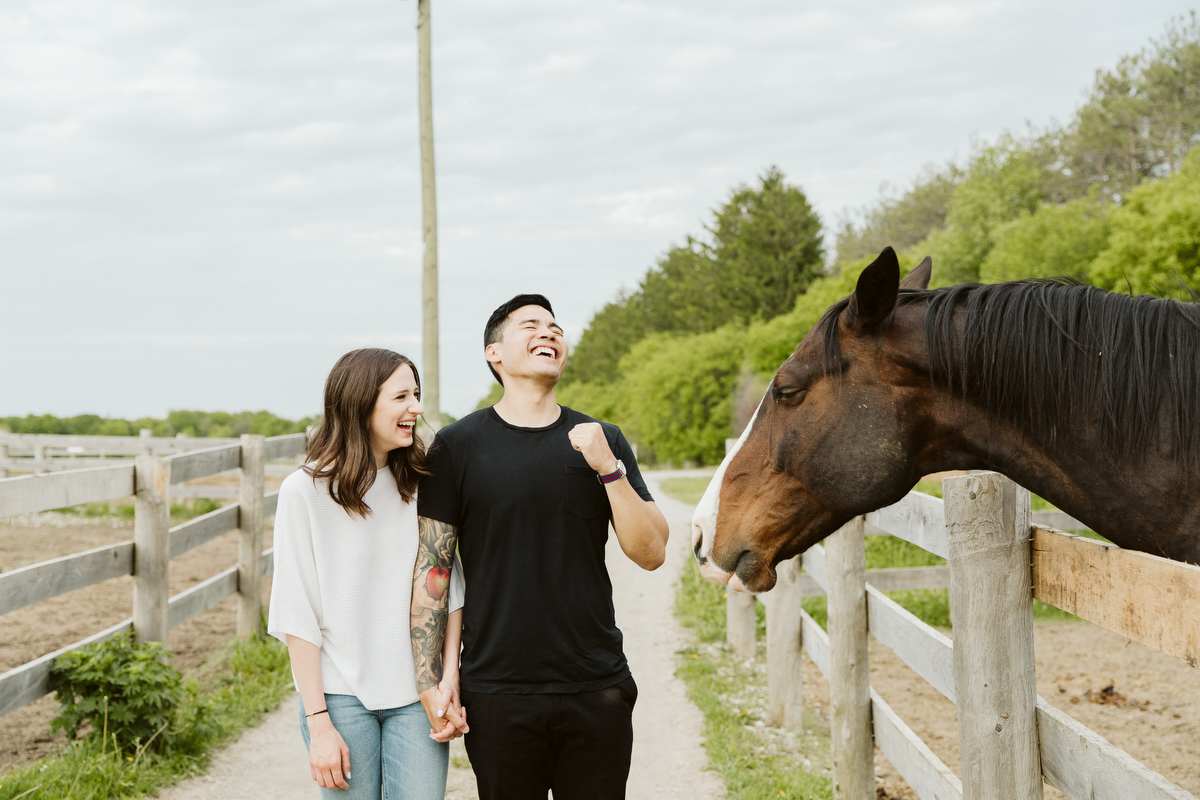 rustic engagement photography at dog tales rescue