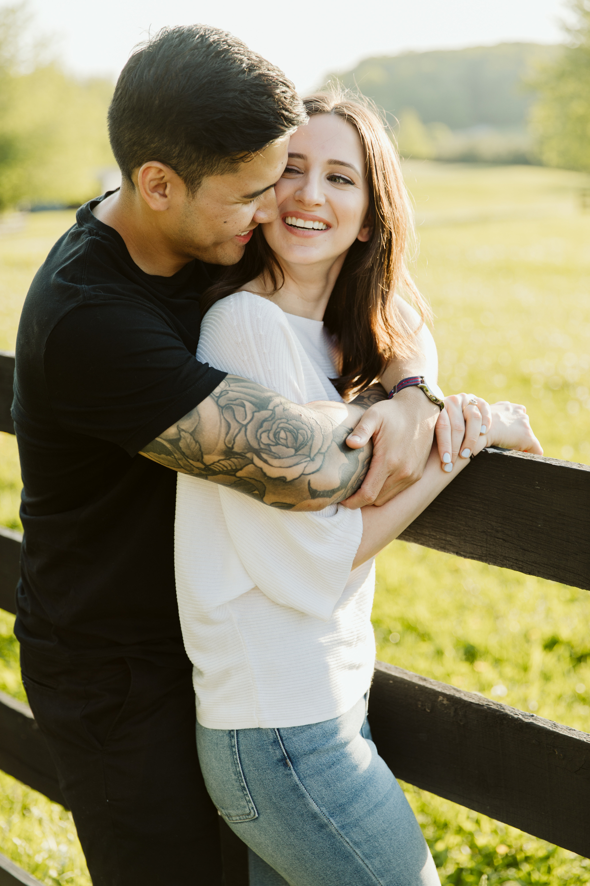 an engagement shoot on a farm in ontario