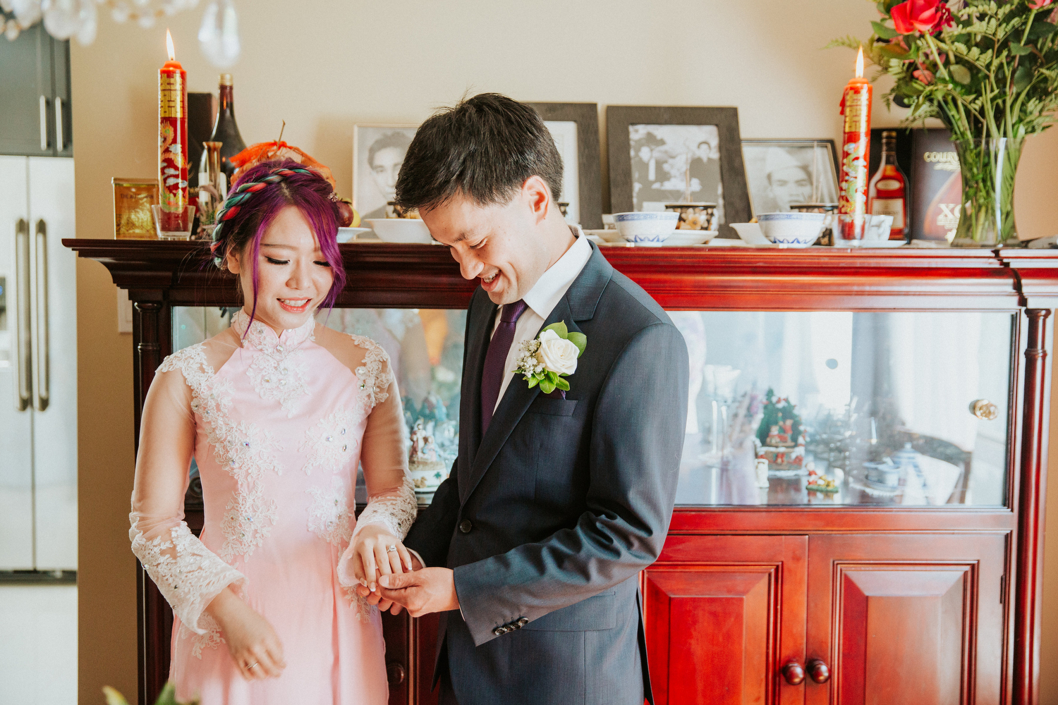 intimate at home wedding candid photography
