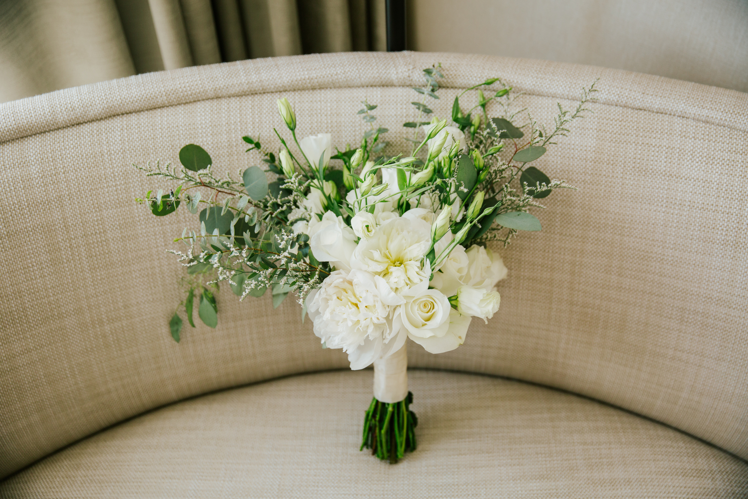 white and green wedding bouquet flowers in toronto