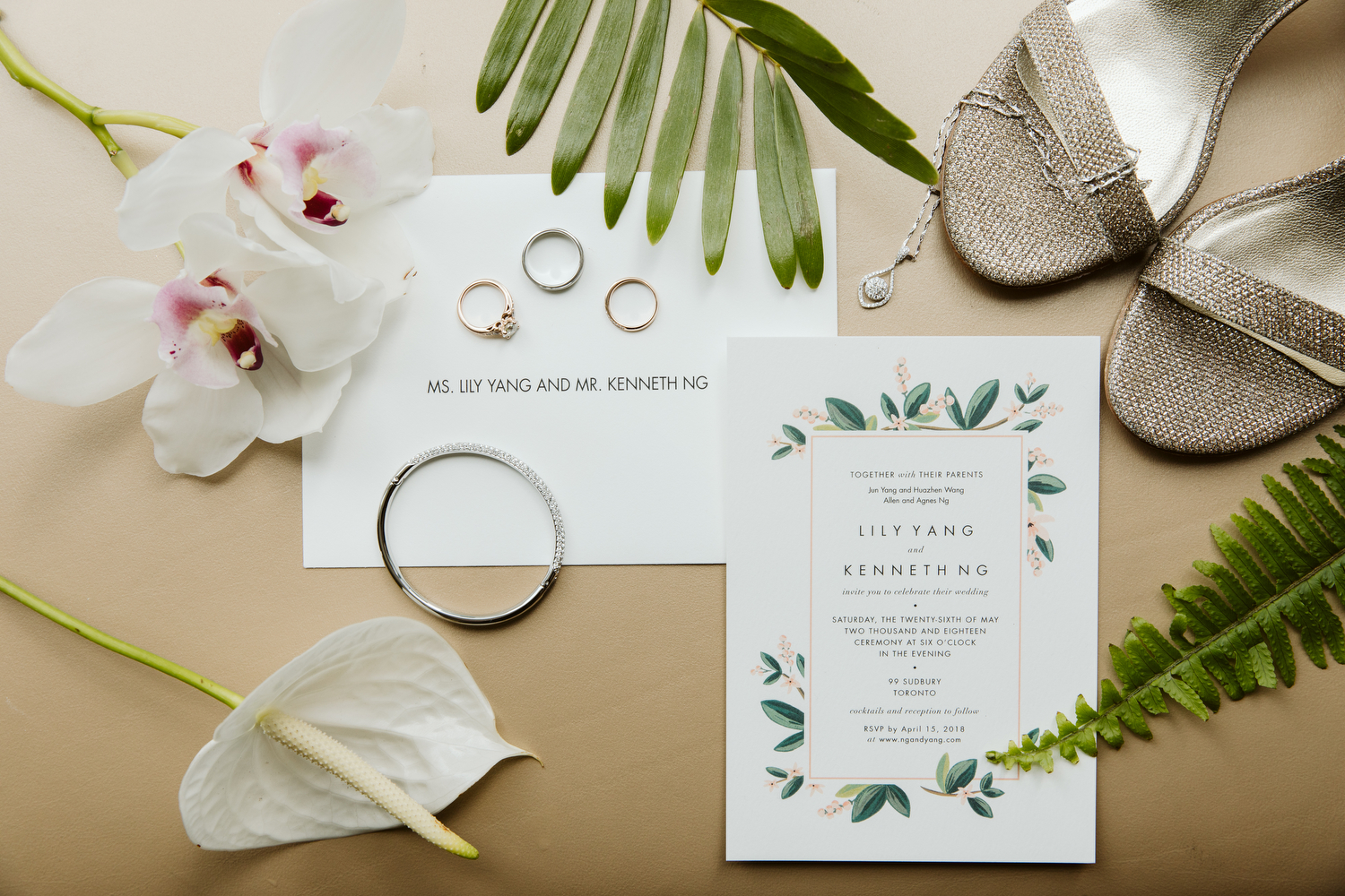 Tropical wedding invitation at 99 Sudbury Toronto