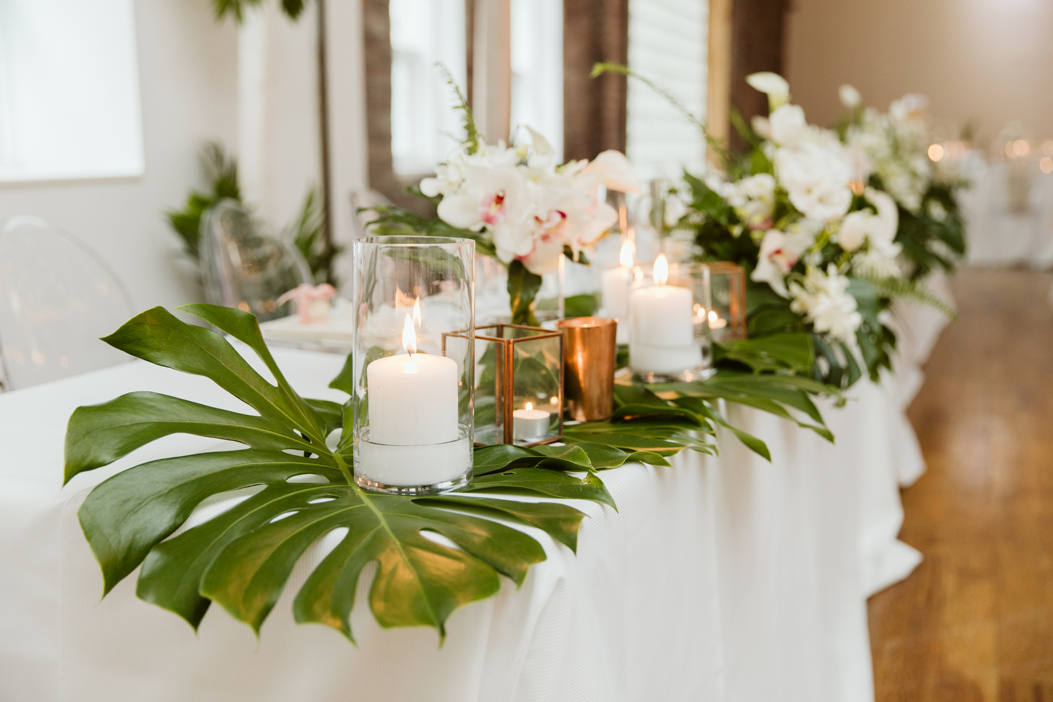 Blush and Bloom tropical wedding flowers