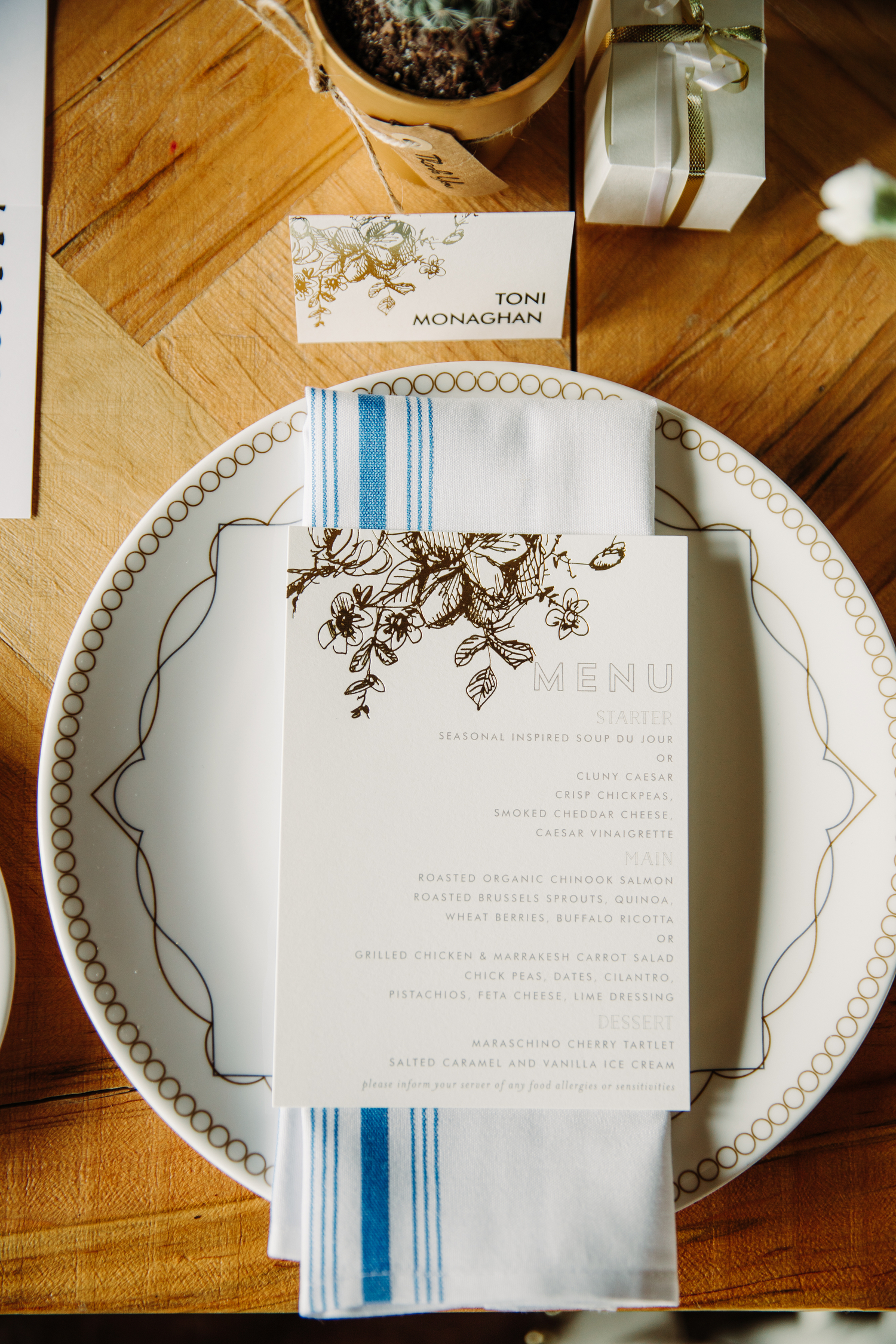 minted bridal shower menu