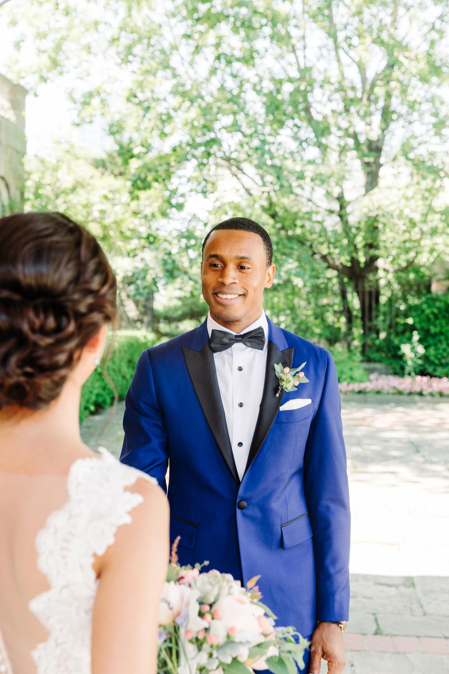 grooms blue wedding suit