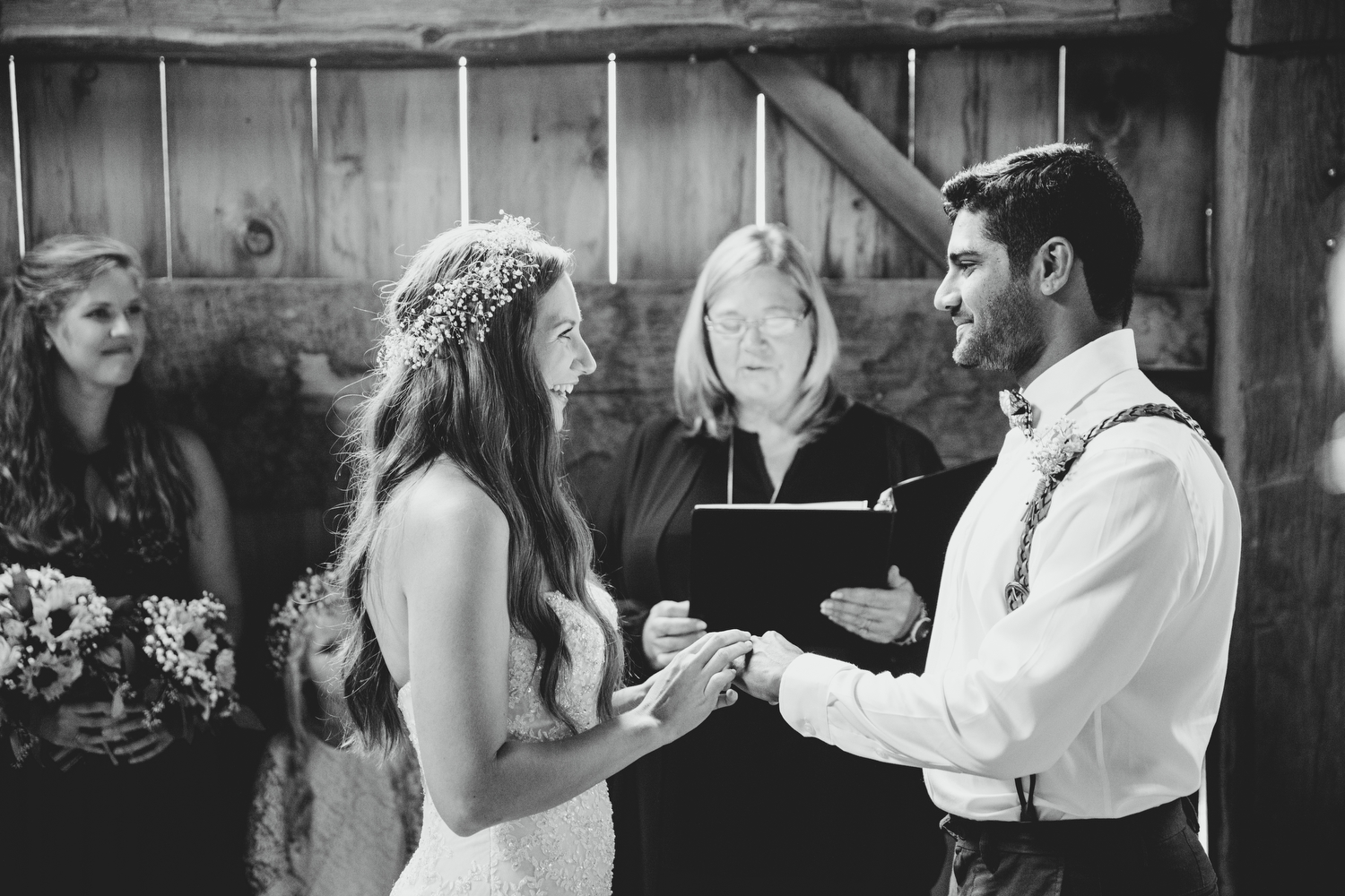 ceremony in a barn at stoneacre farms