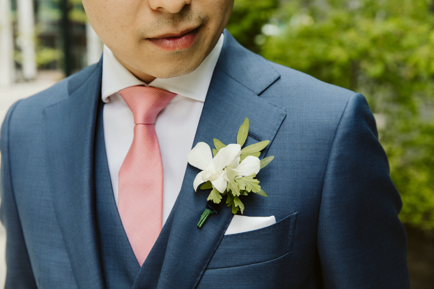 Blush and Bloom wedding flowers for groom