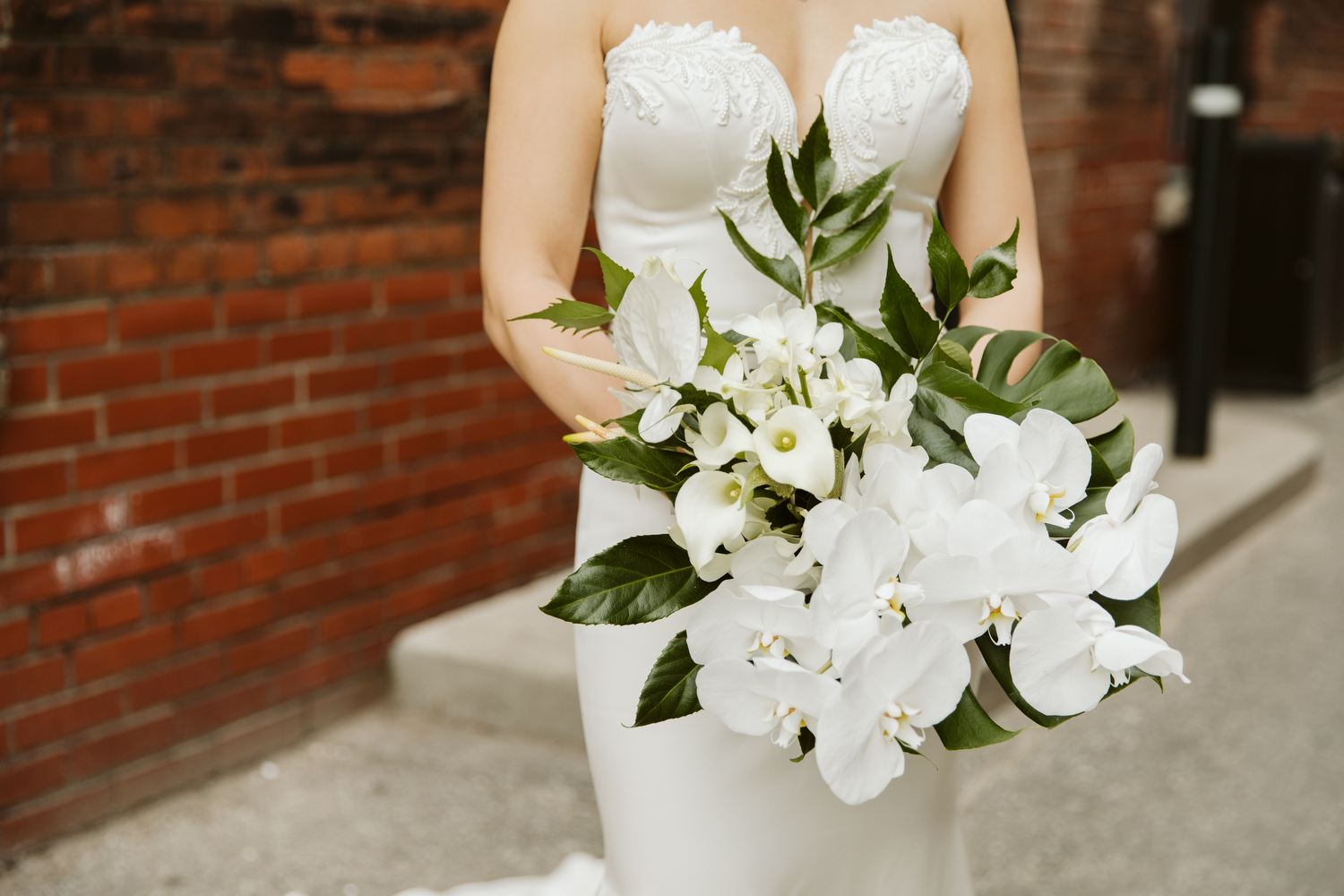 tropical wedding bouquet by Blush and Bloom